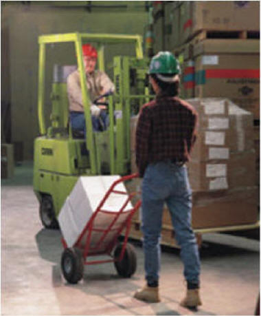 watch for people around while driving forklift. Pedestrian traffic and other personnel in the area may not anticipate your actions and step or move into harm's way.