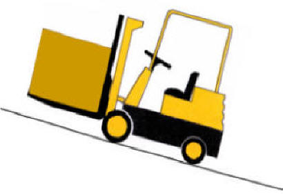 forklift carrying load goes up incline forks first to cradle load