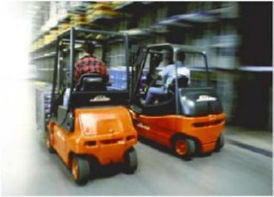 forklift race racing speeding down warehouse aisle