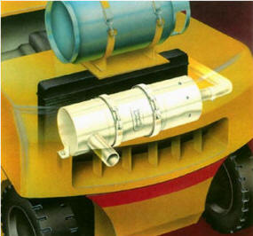 Diagram of rear of forklift showing a propane fuel tank strapped to the counterweight and ghost image of exhahst system and muffler